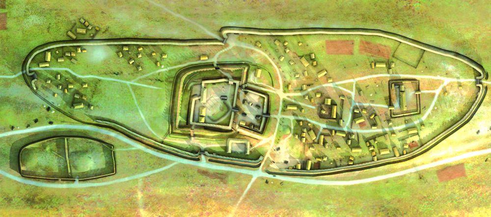Camp de Saint-Symphorien. Reconstitution 3D. image Y. Menez, L. Stephanon