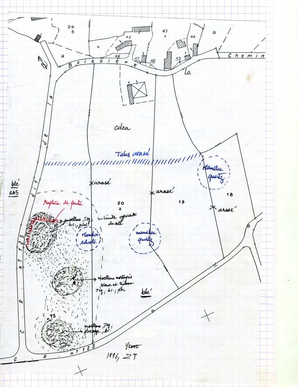 Minute de terrain de prospection. A. Provost