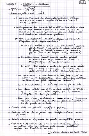 Minutes de terrain . Document A. Provost