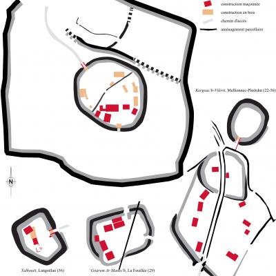 Plans simplifiés de différentes enceintes du haut moyen-âge ayant fait l'objet de sondage ou de fouille.DAO Benjamin Leroy