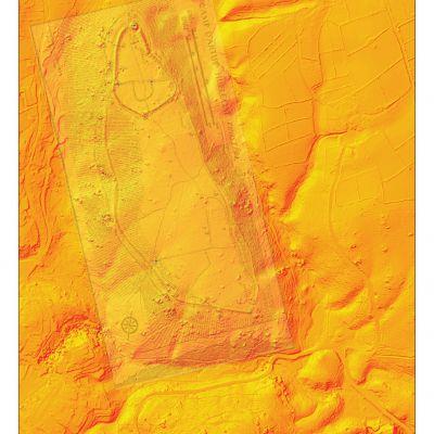 Relevé du camp d'Artus de M. WHeeler superposé au relevé lidar. Image T.Lorho