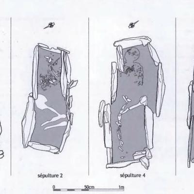 Kergroas, les 4 tombes avec ossements, Villard-Le Tiec
