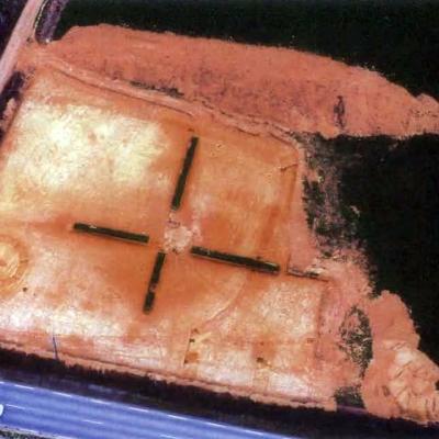 Kergroas, vue aérienne du chantier de fouille, G. Maurice