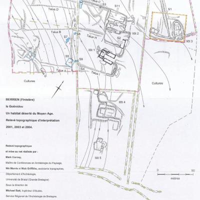 Berrien, Le Goenidou.Plan général des vestiges